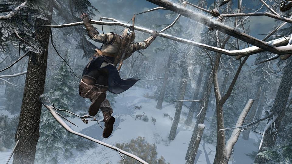 Assassin's Creed 3 – Connor bewegt sich über und an den Bäumen