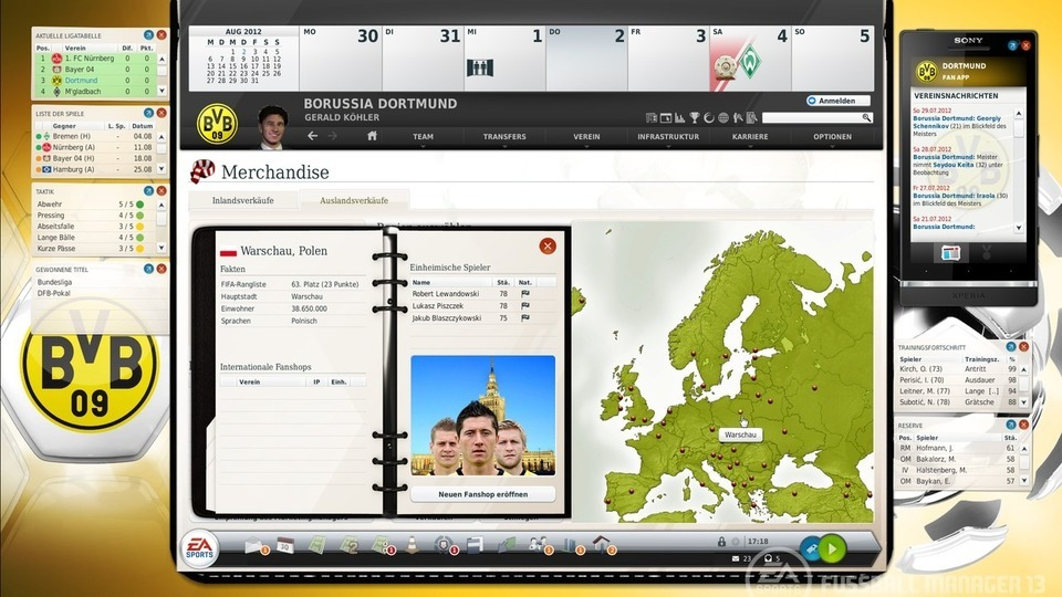 Fussball Manager 13 Auslands-Fanshops