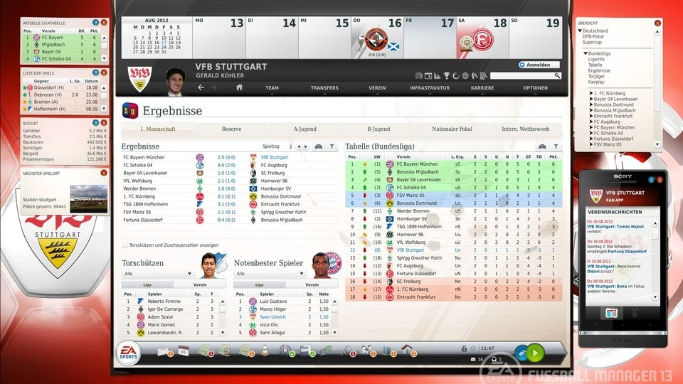 Fussball Manager 13 Oberfläche und Menüleiste