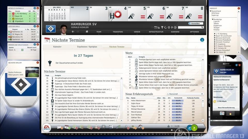 Fussball Manager 13 Terminübersicht
