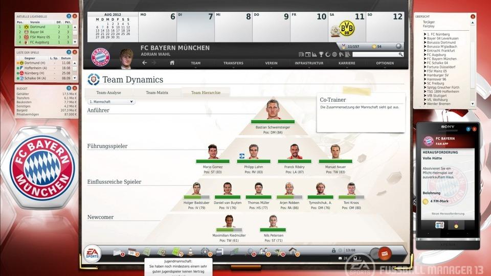 Die Hierarchie-Pyramide im Fussball Manager 13