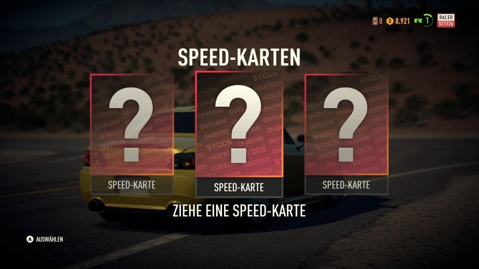Am Rennende darf sich eine Speedcard ausgesucht werden, die das Fahrzeug (hoffentlich) verbessert.
