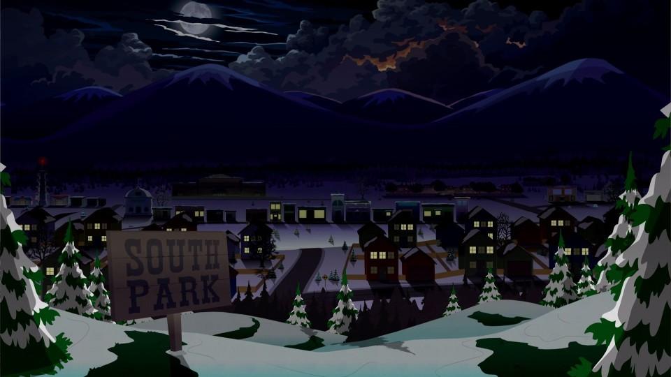 Die gewohnte Optik der Stadt South Park - hier bei Nacht.