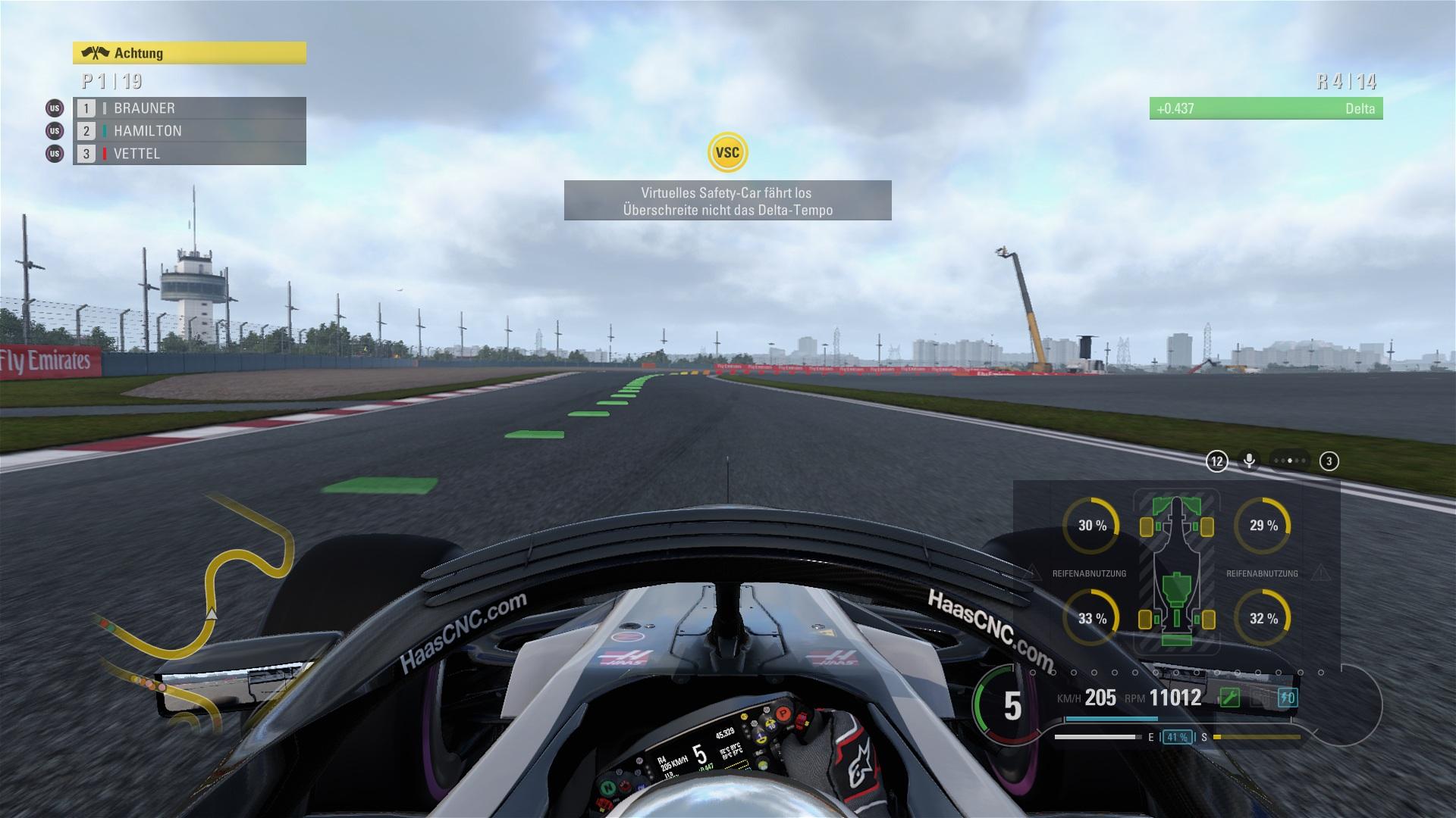 Beim Virtual Safety Car muss die Geschwindigkeit reduziert werden.